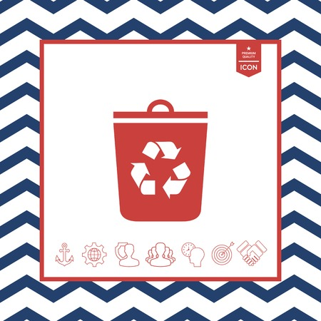 objects: Red trash can with recycle symbol isolated in white background