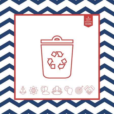 objects: White trash can with recycle symbol on isolated background.