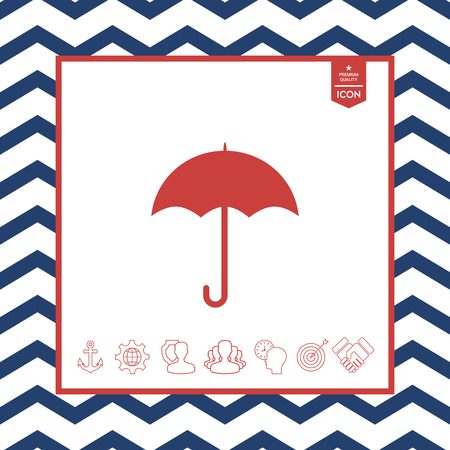 objects: Red umbrella icon in isolated background Illustration