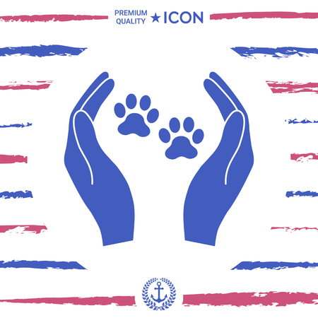 Shelter pets sign icon; Hands holds paw symbol; Animal protection  in royal blue silhouette illustration. Illustration