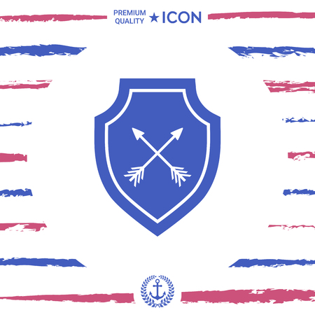 Shield with arrows; Protection icon  in royal blue silhouette illustration.