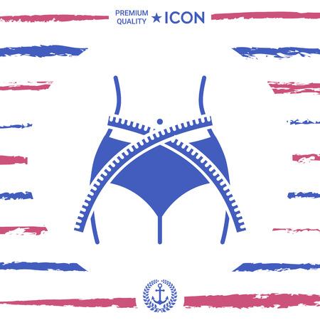 Women waist with measuring tape, weight loss, diet, waistline - icon Illustration