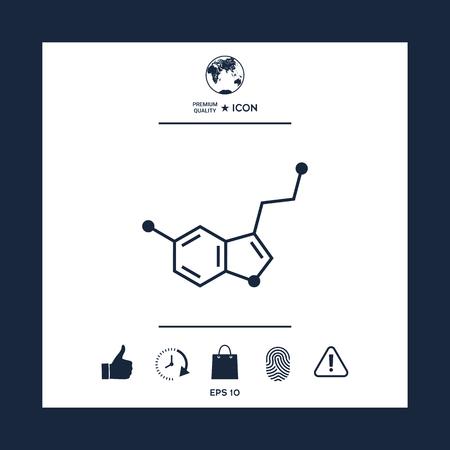 Chemical formula icon. Serotonin Vector illustration.