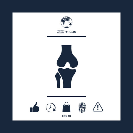 Knee joint icon on white background with blue border, vector illustration.