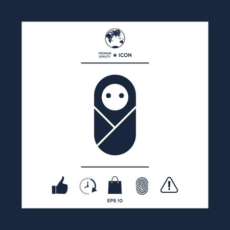 Infant, neonate, newborn icon on plain background.