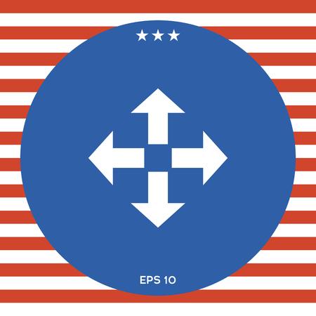 Mover el icono de flecha en el fondo rojo y blanco raya . Foto de archivo - 88364663