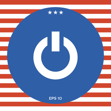 Power button icon in red and white stripe background.