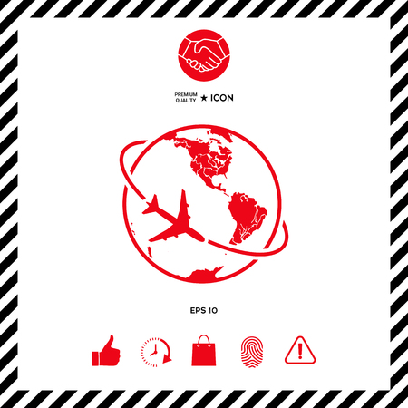 fly around: Airplane fly around the planet Earth logo icon