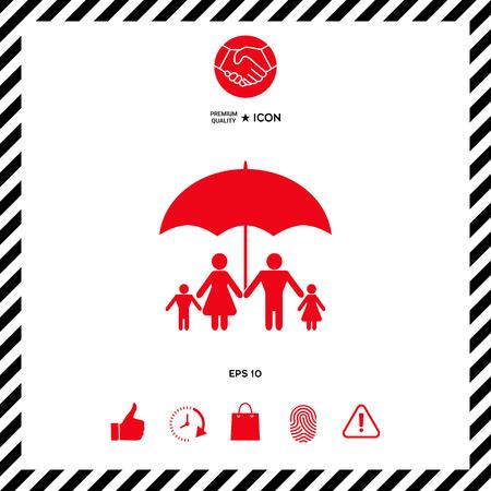 Family under umbrella - Family protect icon