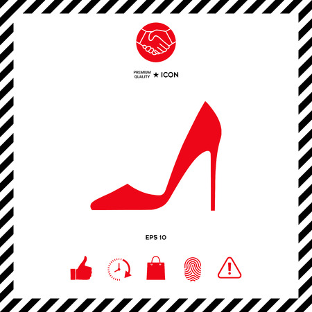 Elegant womens shoe. Menu item in the web design Illustration
