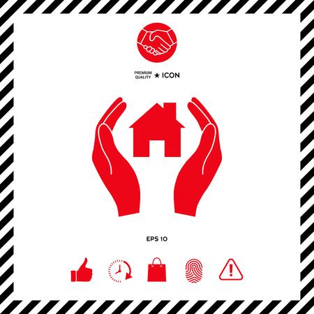 Hands holding home Illustration