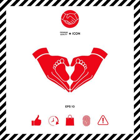 girl sleep: Hands holding baby symbol. Heart shape. Illustration