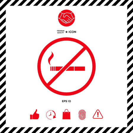 No smoking, smoking ban icon. Cigarette - prohibiting sign