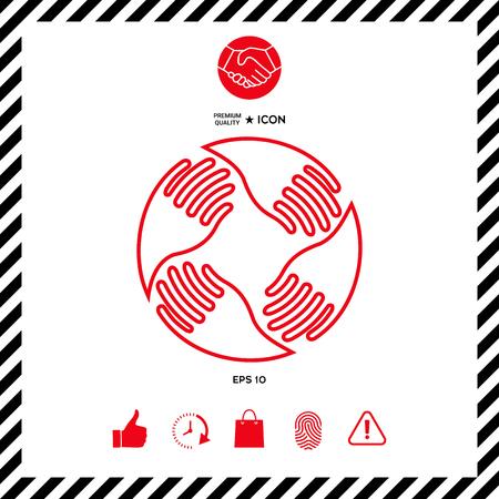 Teamwork Hands Logo. Human connection. Line icon Illustration