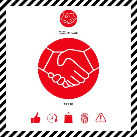 partnership security: Symbol of handshake in circle. Icon