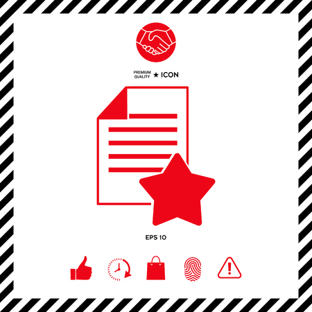 qualification: Warranty sheet of paper with a star. Icon