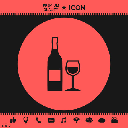 wineglass: Bottle of wine and wineglass icon Illustration