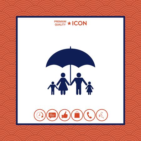 Family under umbrella. Family protect icon Çizim