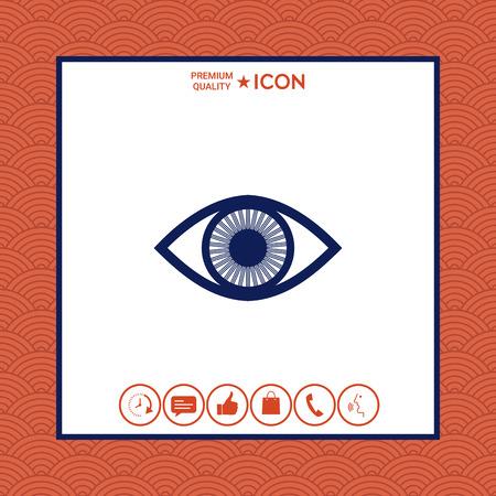 Eye symbol icon with iris 向量圖像