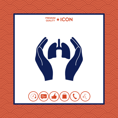 Hands holding lungs, protection icon on white background with border, vector illustration. Çizim