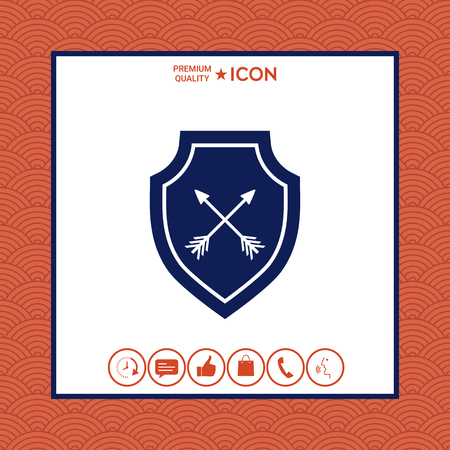Shield with arrows. Protection icon on white background with border, vector illustration.