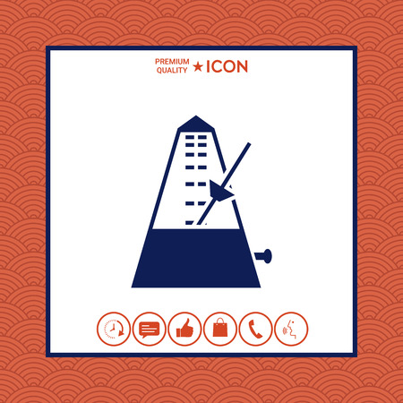 Metronome icon on white background with border, vector illustration.
