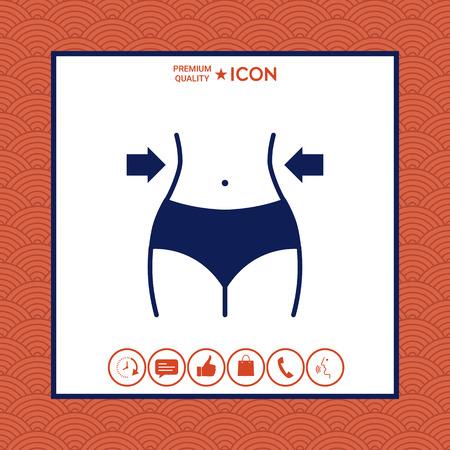 Women waist icon on white background with border, vector illustration.
