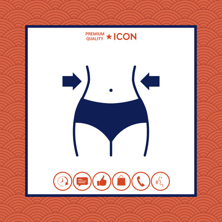 Women waist icon on white background with border, vector illustration.