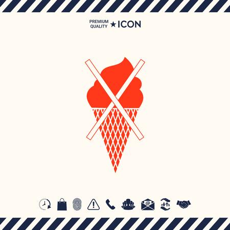 glace: No ice cream symbol icon Illustration