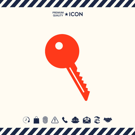 latchkey: Key symbol icon vector illustration.