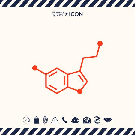 Chemical formula icon. Serotonin