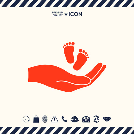 Hands holding baby foot Illustration