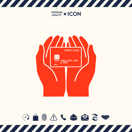 Hands holding credit card - icon