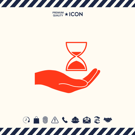 sand watch: Hand holding Hourglass Stock Photo