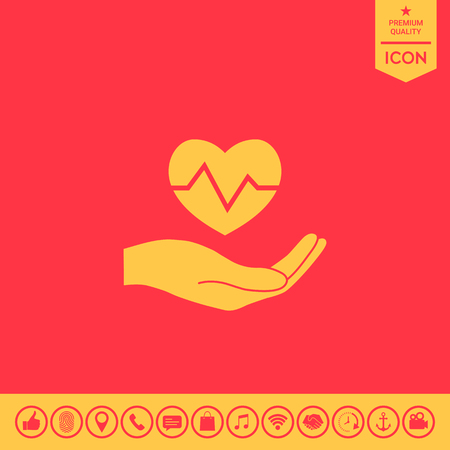 Hand holding heart. Medical icon