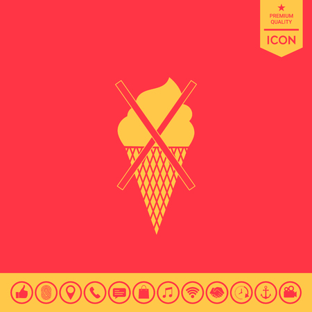 No ice cream symbol icon Illustration