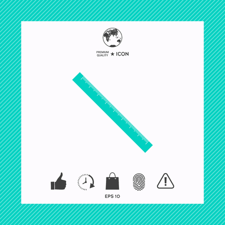 Long ruler icon on turquoise square frame background.