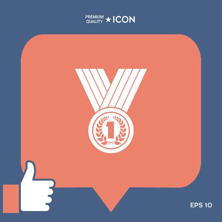 Medal with Laurel wreath Icon Illusztráció