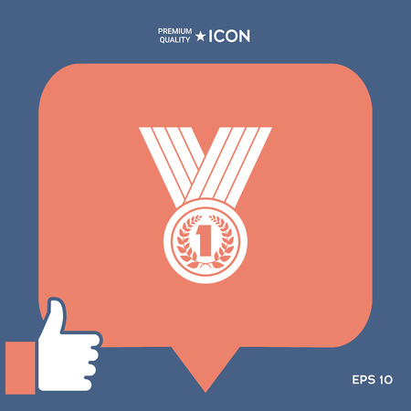 Medal with Laurel wreath Icon Illustration