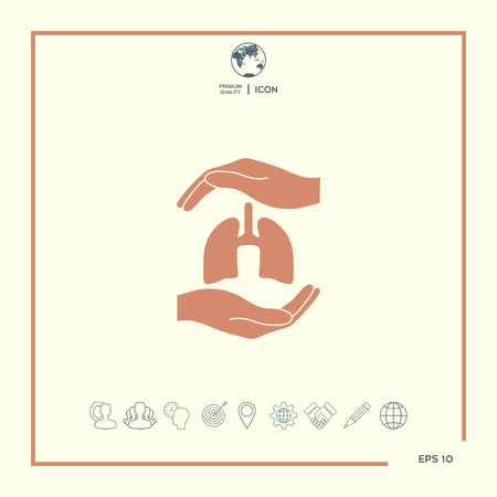 Hands holding lungs - protection symbol