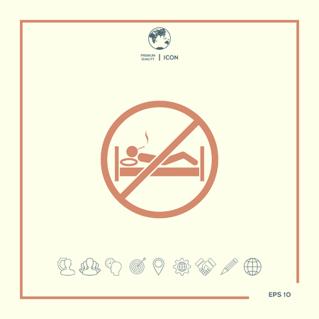 No smoking in bed - prohibition icon