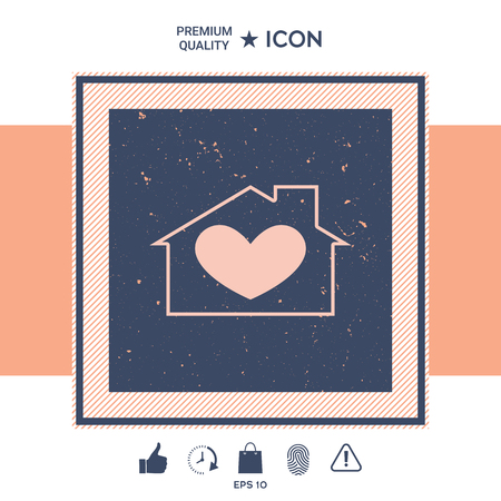 House with heart symbol Vector illustration.