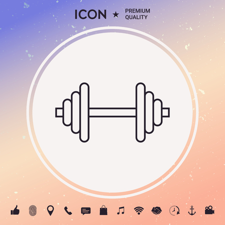 Barbell line icon Stock Vector - 91240437