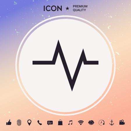 ECG wave  cardiogram symbol. Medical icon on plain background Illustration