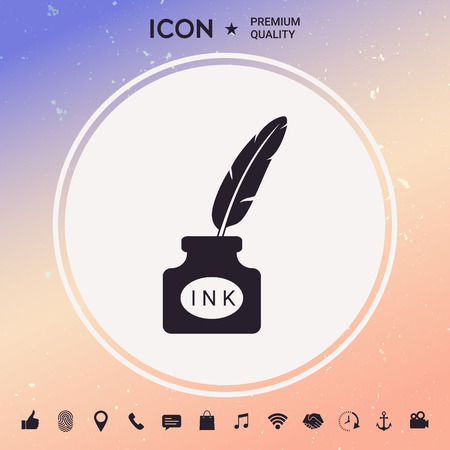 Ink bottle with feather icon Illustration