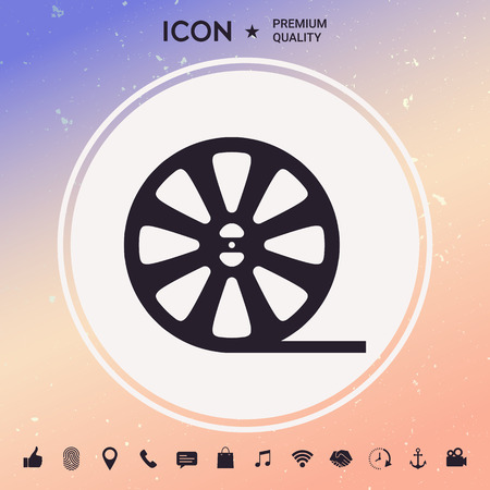 Reel film icon in white background