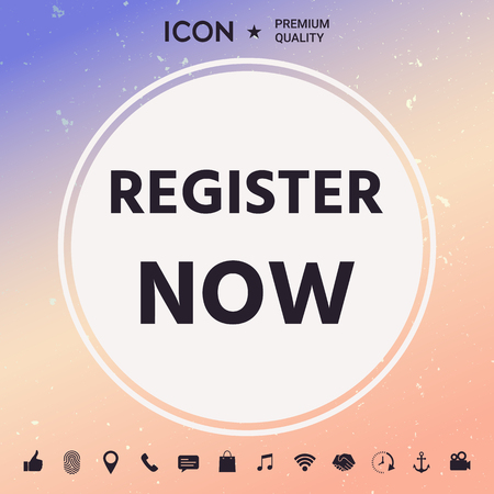 Register now button Vector illustration.