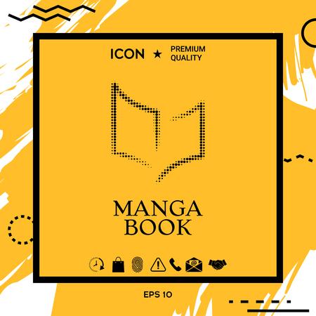 Elegant halftone icon with book symbol Stock Illustratie