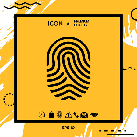 Fingerprint. Scanned finger icon. Element for your design