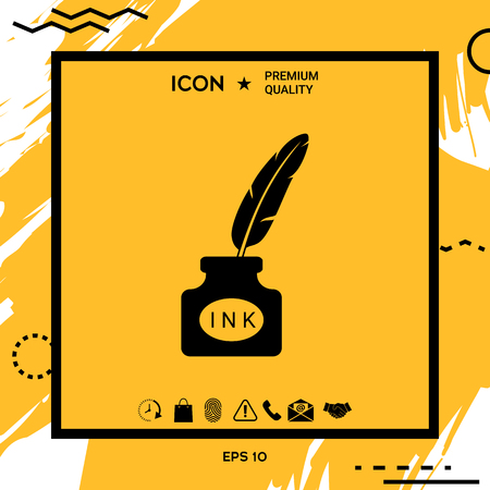 Ink bottle with feather - icon . Element for your design